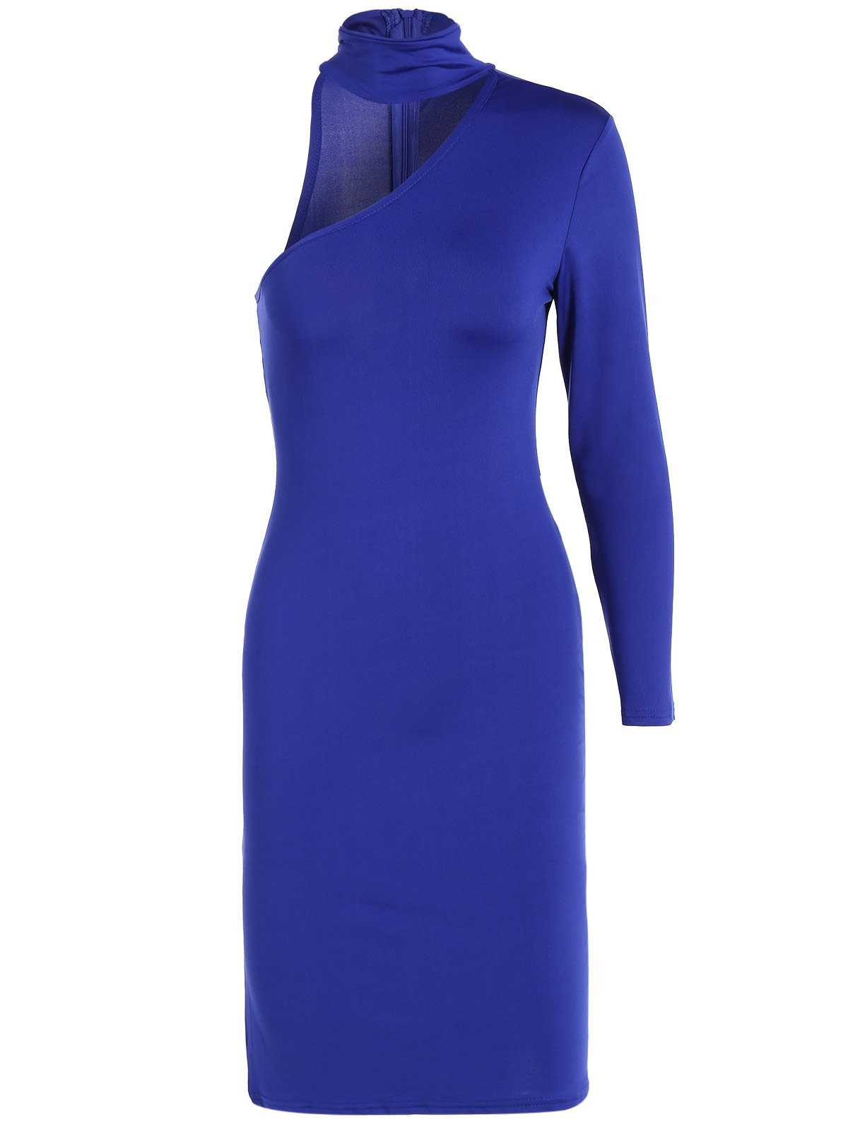 Long Sleeve One Shoulder Bodycon Dress - ROYAL BLUE M