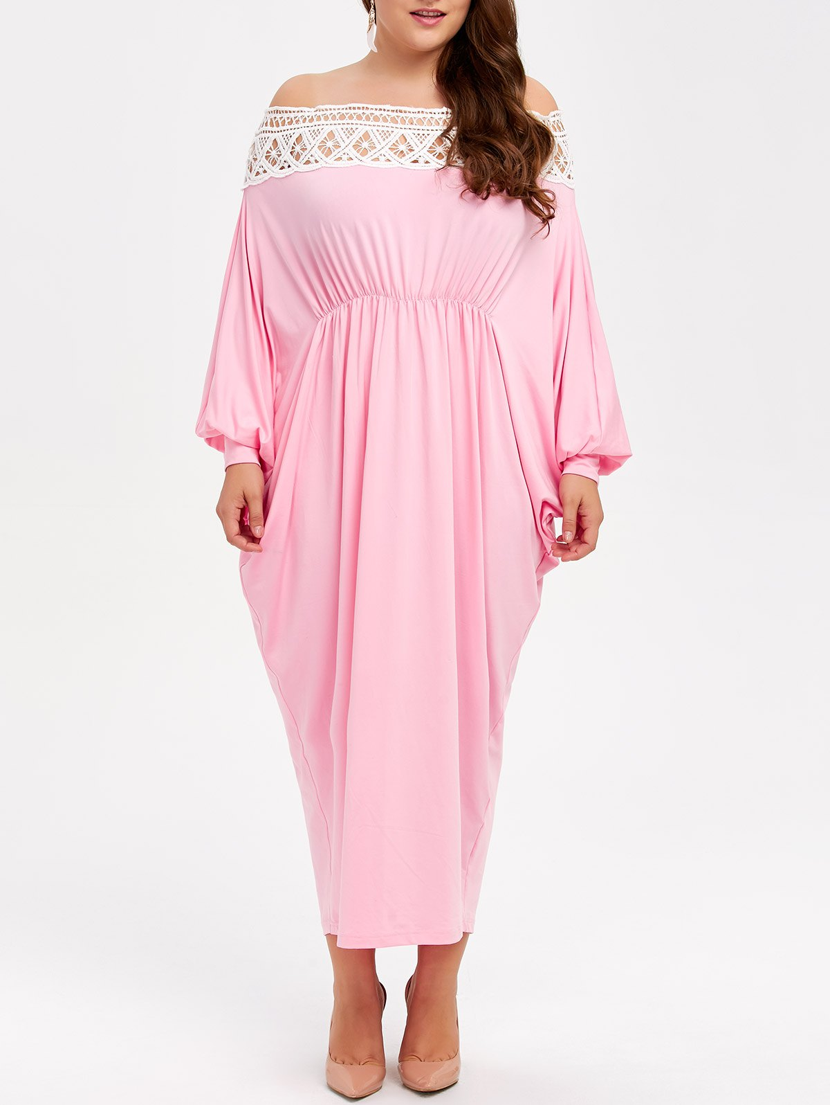 Off Shoulder Plus Size Maxi Batwing Formal Dress - PINK XL