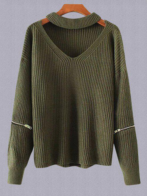 2018 Plus Size Choker Sweater Army Green One Size In Plus Size
