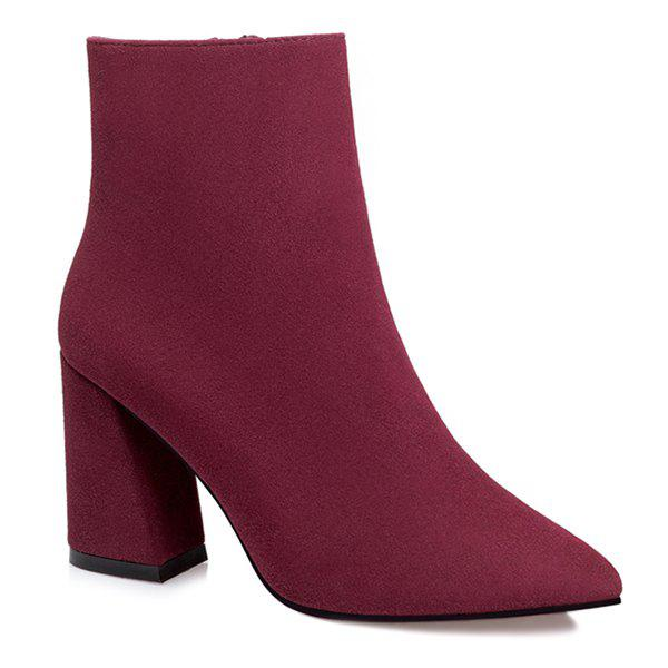 Zip Pointed Toe Chunky Heel Ankle Boots - WINE RED 39
