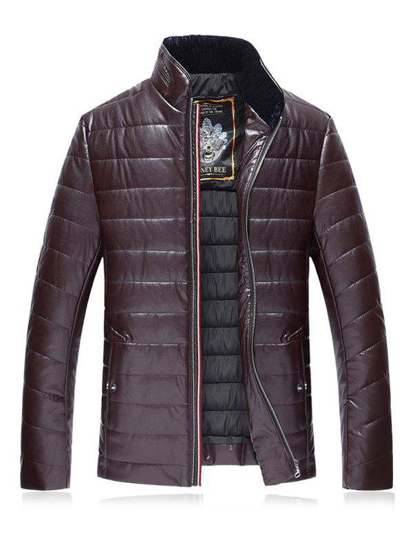 Stand Collar PU Leather Plus Size Zip Up Down Jacket - CLARET 3XL