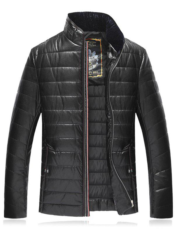 Stand Collar PU Leather Plus Size Zip Up Down Jacket - BLACK 9XL