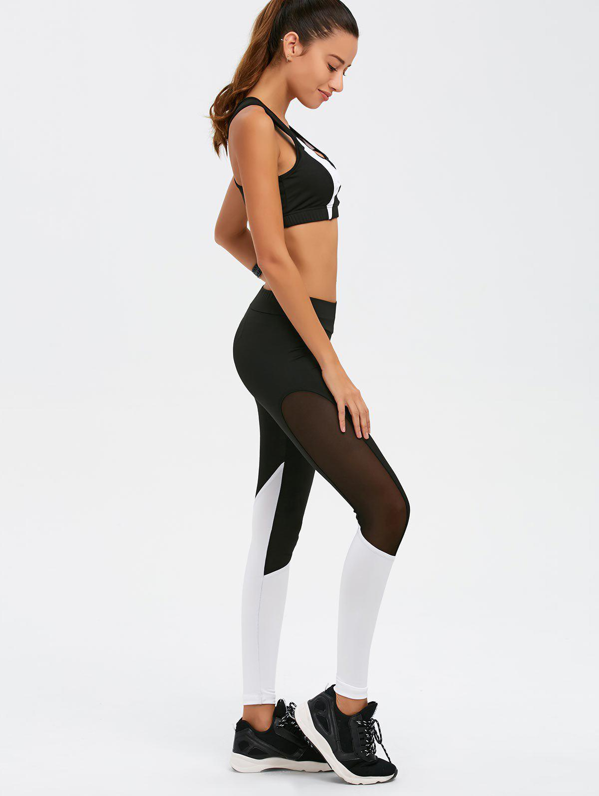 Mesh Paneled Color Block Gym Suit - Blanc et Noir M