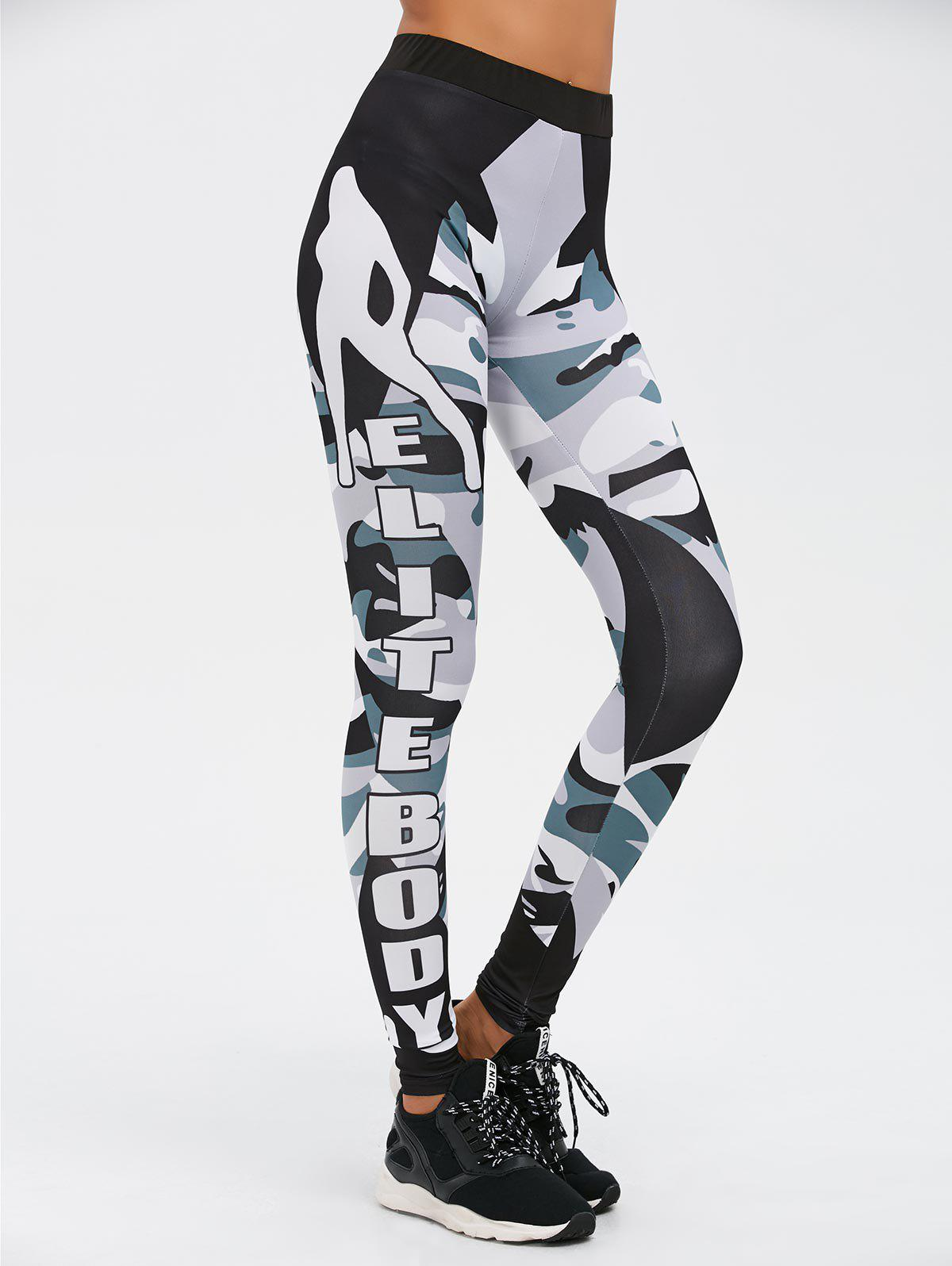 Insert Letter Camo Print Gym Leggings - CAMOUFLAGE COLOR S