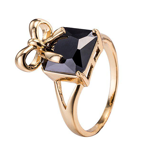 Artificial Gem Bows Geometric Ring - BLACK ONE-SIZE