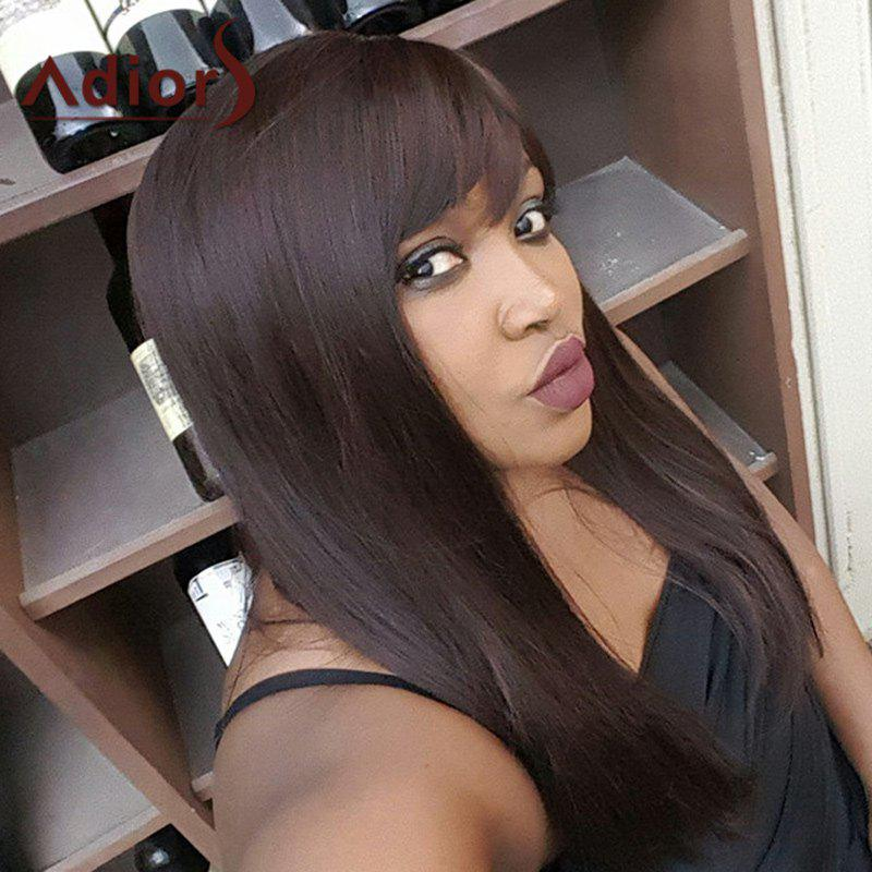Long Side Bang Mixed Color Straight Adiors Synthetic Wig - COLORMIX