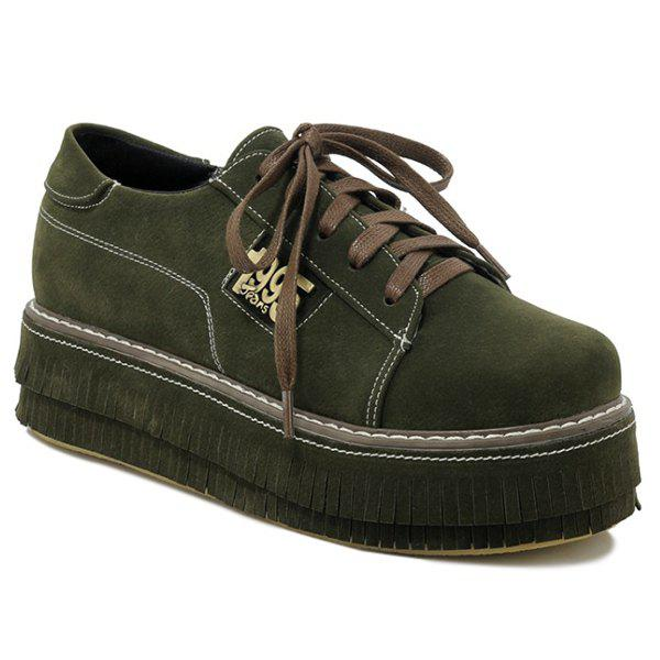 Figure Pattern PU Leather Platform Shoes - ARMY GREEN 37