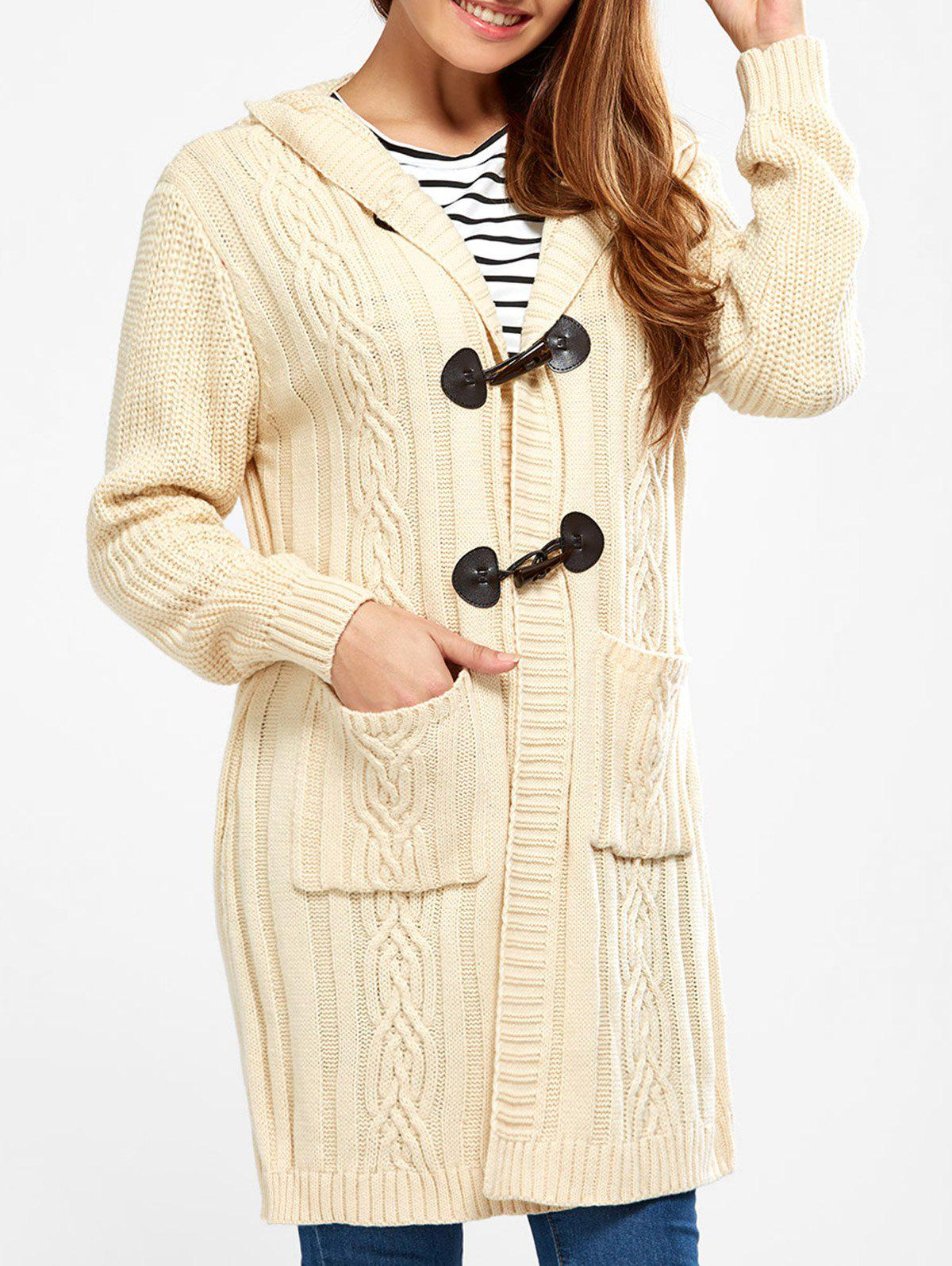 Hooded Long Cable Knit Cardigan, PALOMINO, S in Sweaters ...
