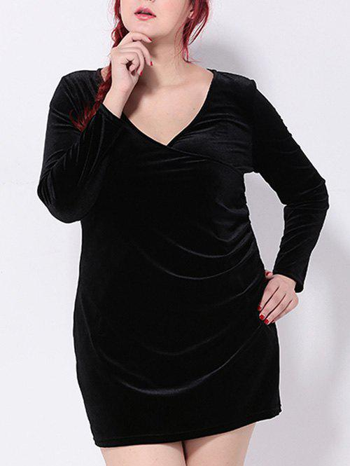 Plus Size Long Sleeve Velvet Dress - BLACK 3XL