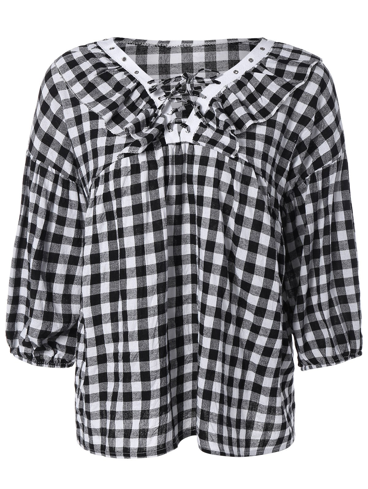 Puff Sleeve Lace-Up Plaid Blouse - PLAID 2XL