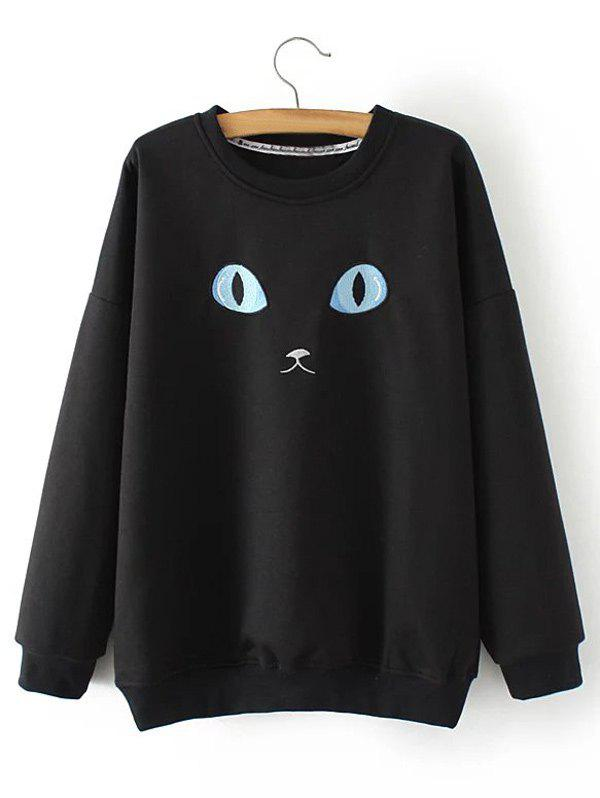Plus Size Cat Embroidery Sweatshirt - BLACK XL