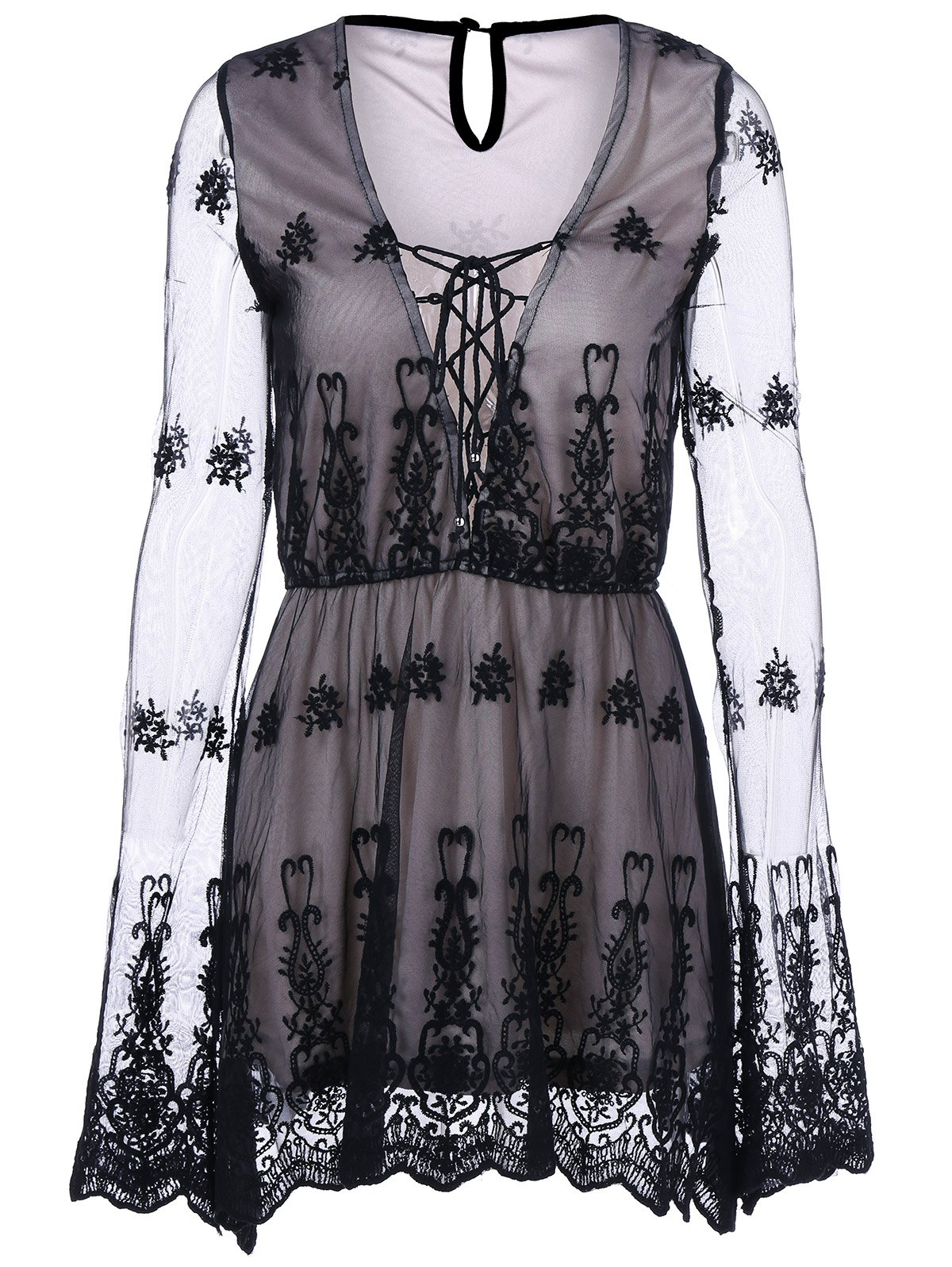 Buy See Thru Lace Dress GRAY