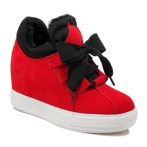 Splicing Tie Up Suede SneakersShoes<br><br><br>Size: 37<br>Color: RED