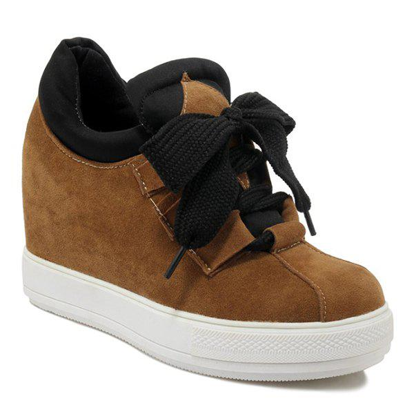Splicing Tie Up Suede Sneakers - BRUN 38