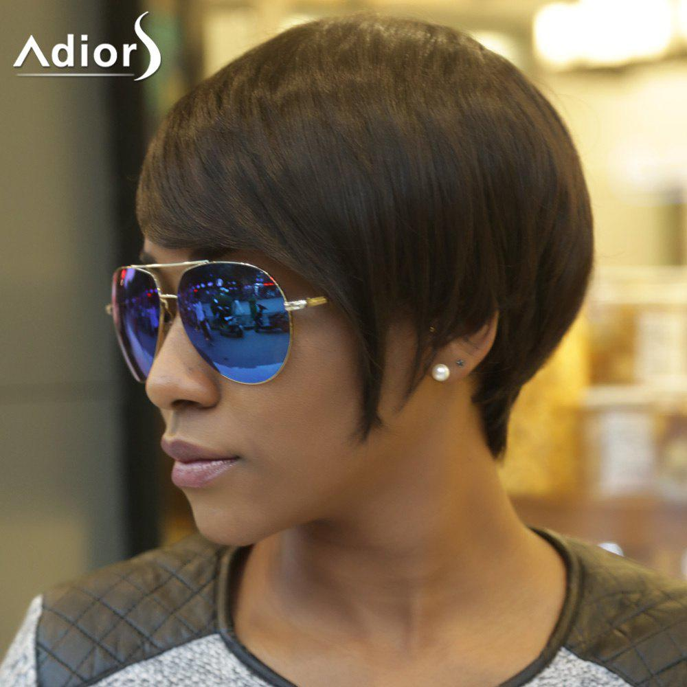 Spiffy Short Fluffy Adiors Side Bang Synthetic Hair Wig - BLACK BROWN