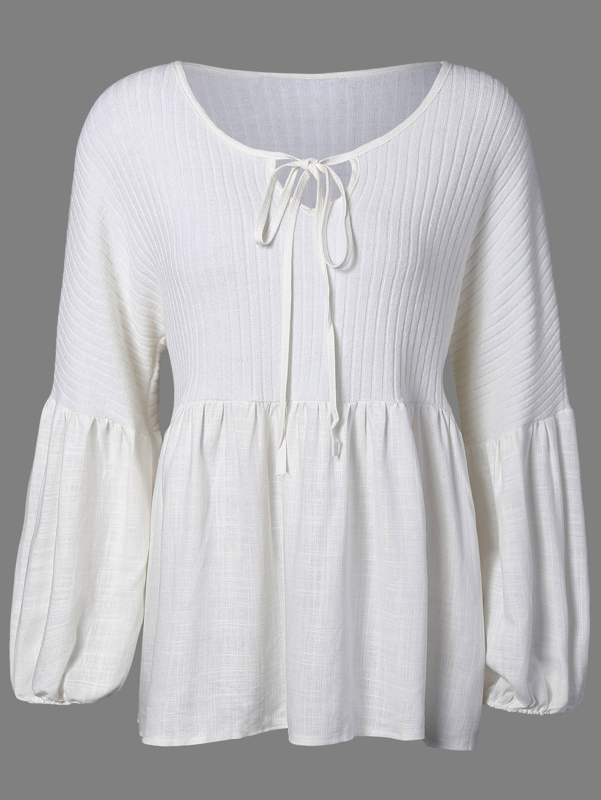 Puff Sleeve Knitted Insert Blouse - WHITE XL