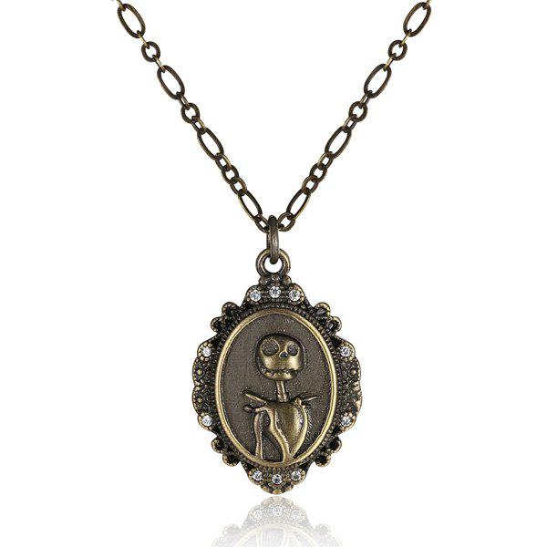 Jack Smile Antique Bronze Plated Christmas NecklaceJewelry<br><br><br>Color: BRONZE-COLORED