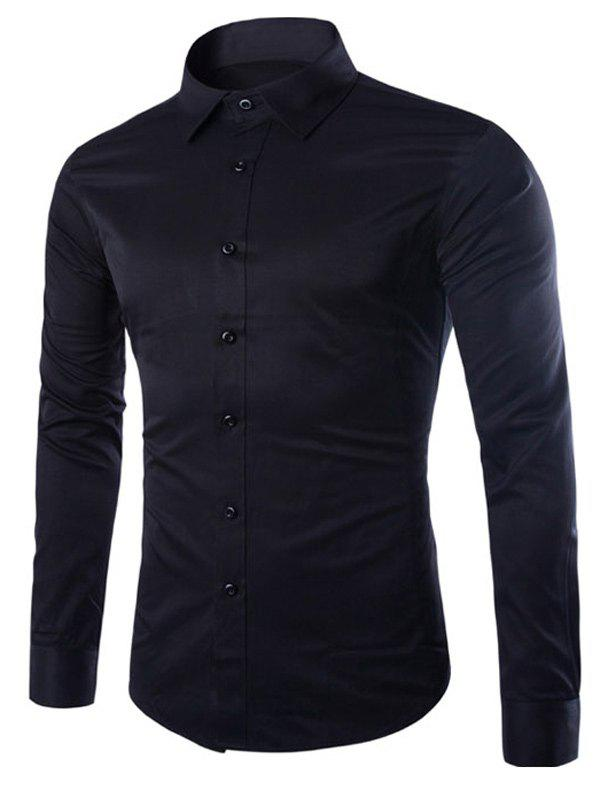 Turn Down Collar Angle Cuff Plain Shirt - BLACK XL