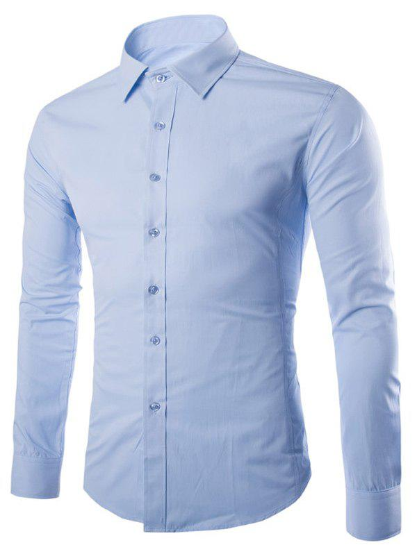 Turn Down Collar Angle Cuff Plain Shirt - LIGHT BLUE 4XL
