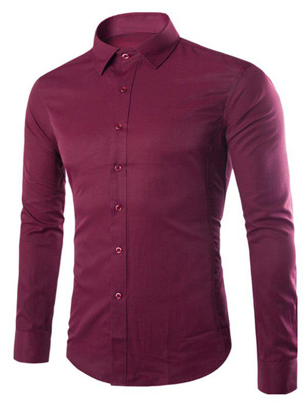 Turn Down Collar Angle Cuff Plain Shirt - BURGUNDY M