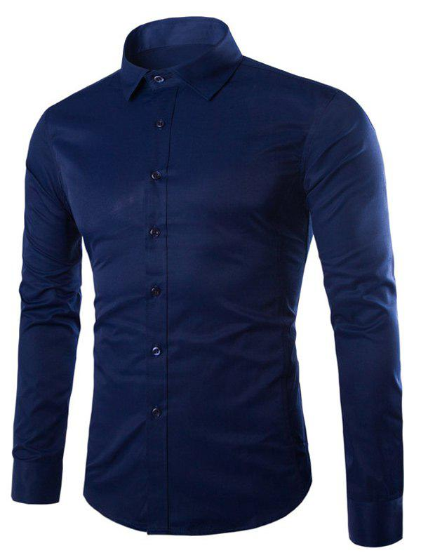Turn Down Collar Angle Cuff Plain Shirt - CADETBLUE L