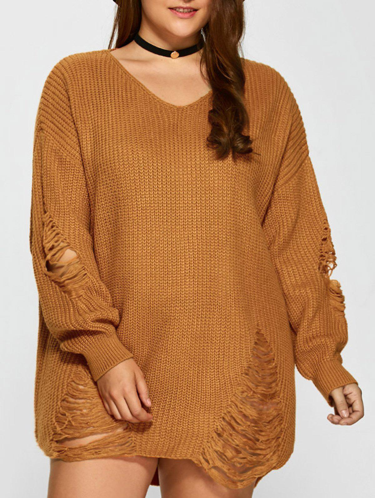 2018 Distressed Plus Size Sweater Earthy Xl In Plus Size Sweaters
