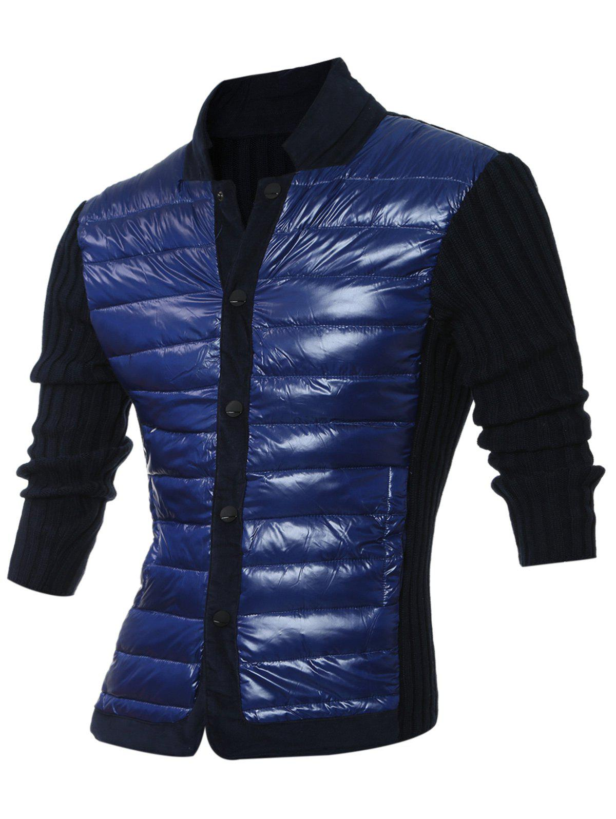 Snap Button Up Ribbed Insert  Jacket - ROYAL 2XL