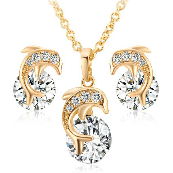цены Rhinestone Dolphin Shaped Necklace with Earrings