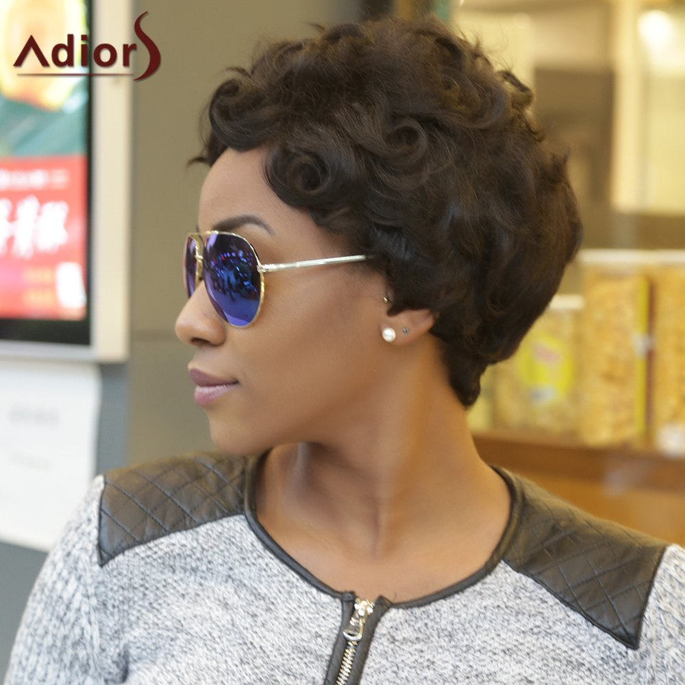 Adiors Pixie Cut Ultrashort Curly Fluffy Synthetic Wig - BLACK