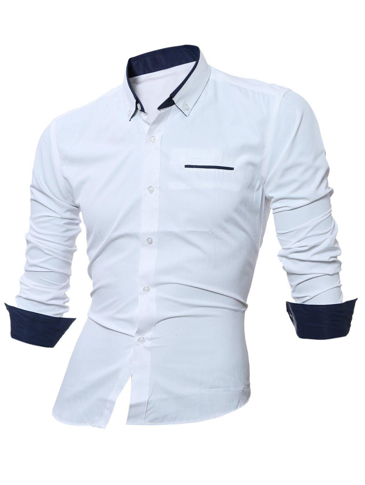 Long Sleeve Contrast Pocket Button Down Shirt - WHITE 3XL