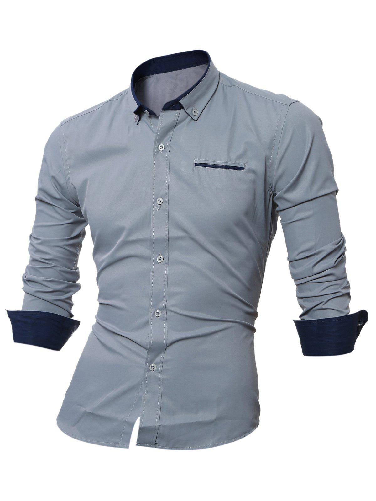 Long Sleeve Contrast Pocket Button Down Shirt - GRAY M