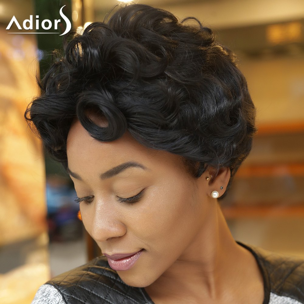 Adiors Short Curly Side Bang Synthetic Wig