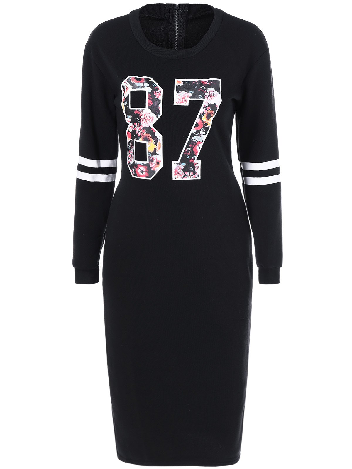 87 Floral Long Sleeve Midi Dress - BLACK XL
