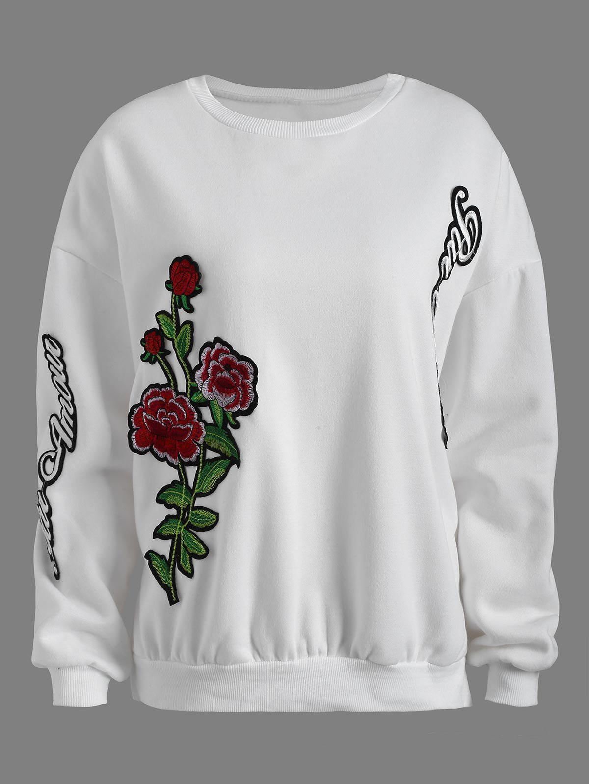 Buy Drop Shoulder Embroidered Sweatshirt WHITE