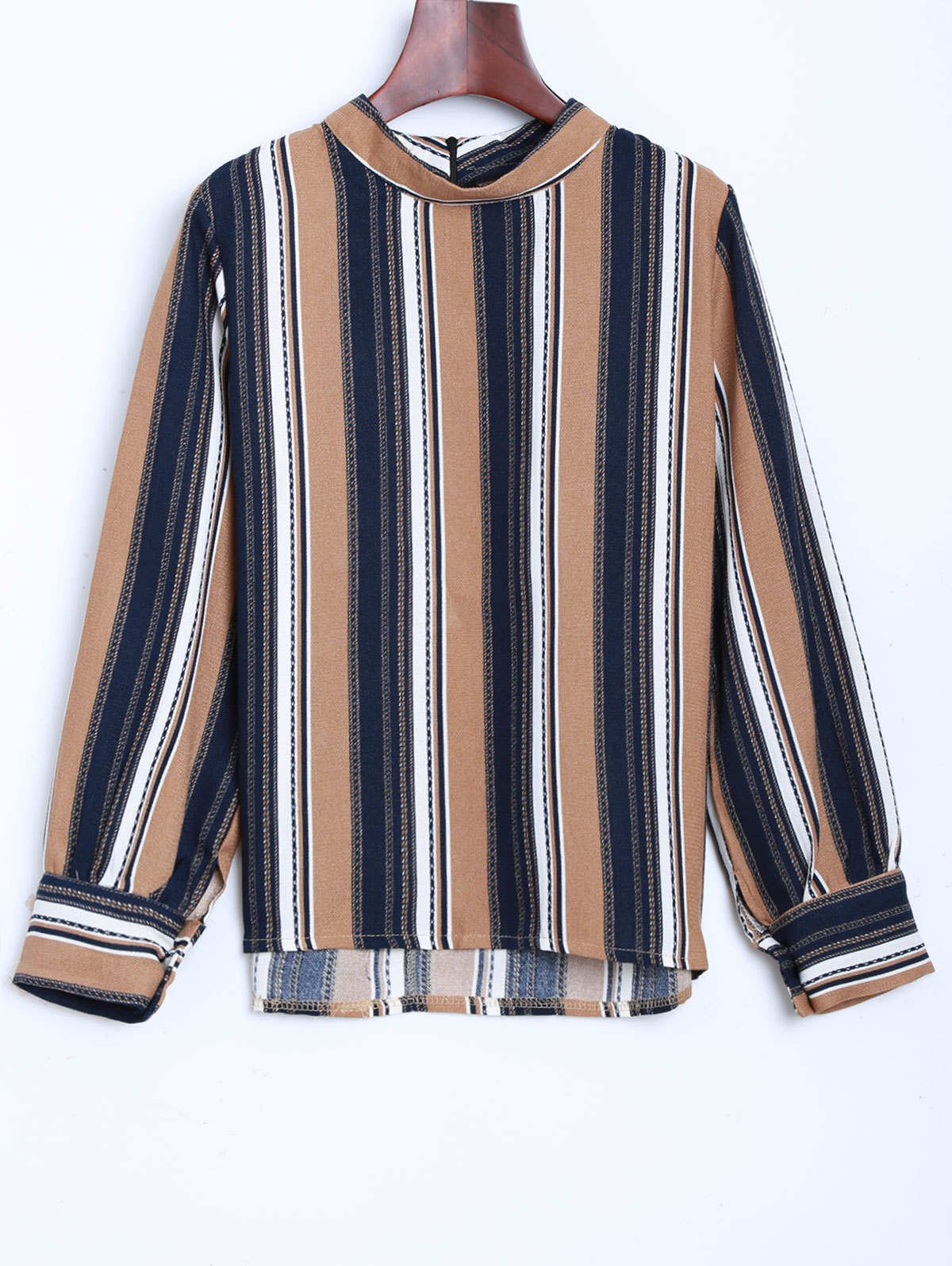 Slim Fit en mousseline de soie Stripe Blouse - Kaki ONE SIZE