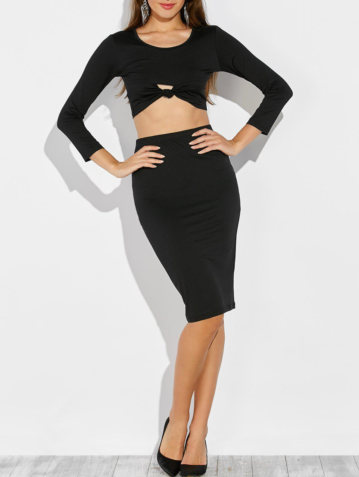 Knotted Cropped Top and Pencil Skirt knotted cropped top and pencil skirt