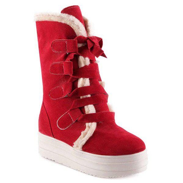 Platform Fold Down Lace Up Mid Calf Boots - RED 38