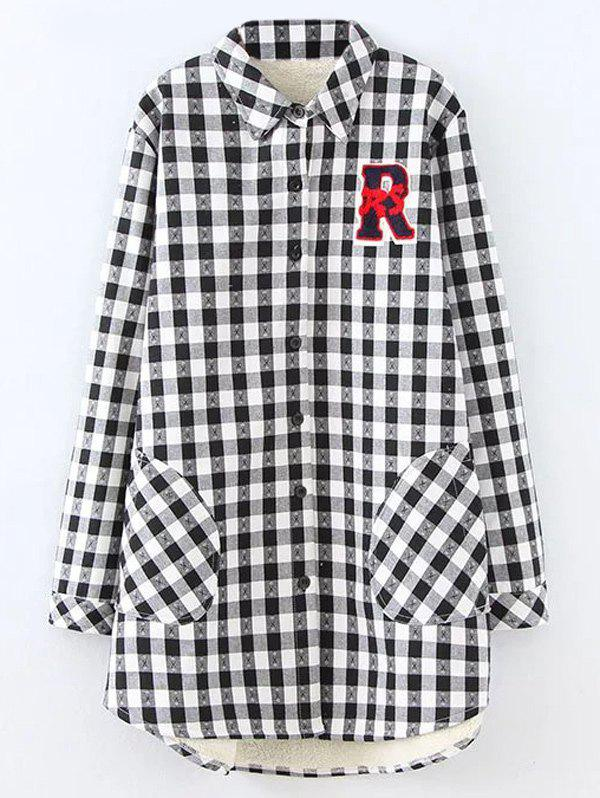 Plus Size Plaid Fleece Shirt Jacket - WHITE XL
