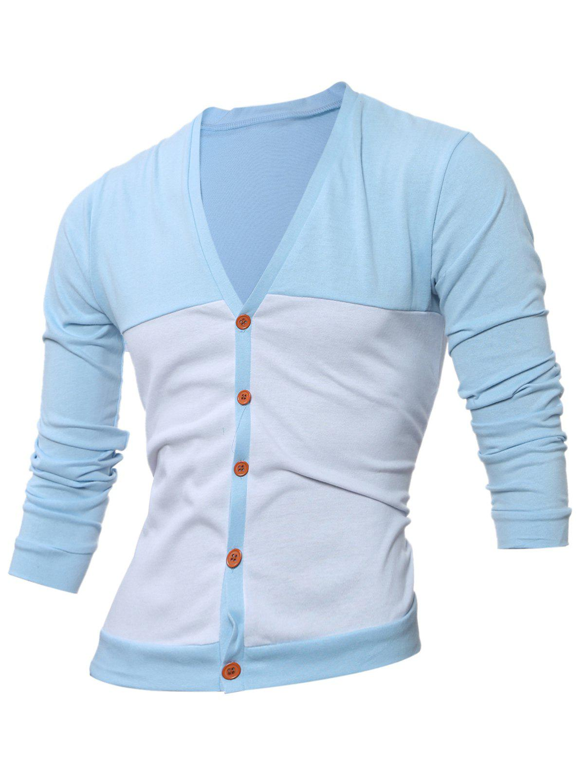 Button Up V Neck Two Tone Cardigan - ADDFFF M