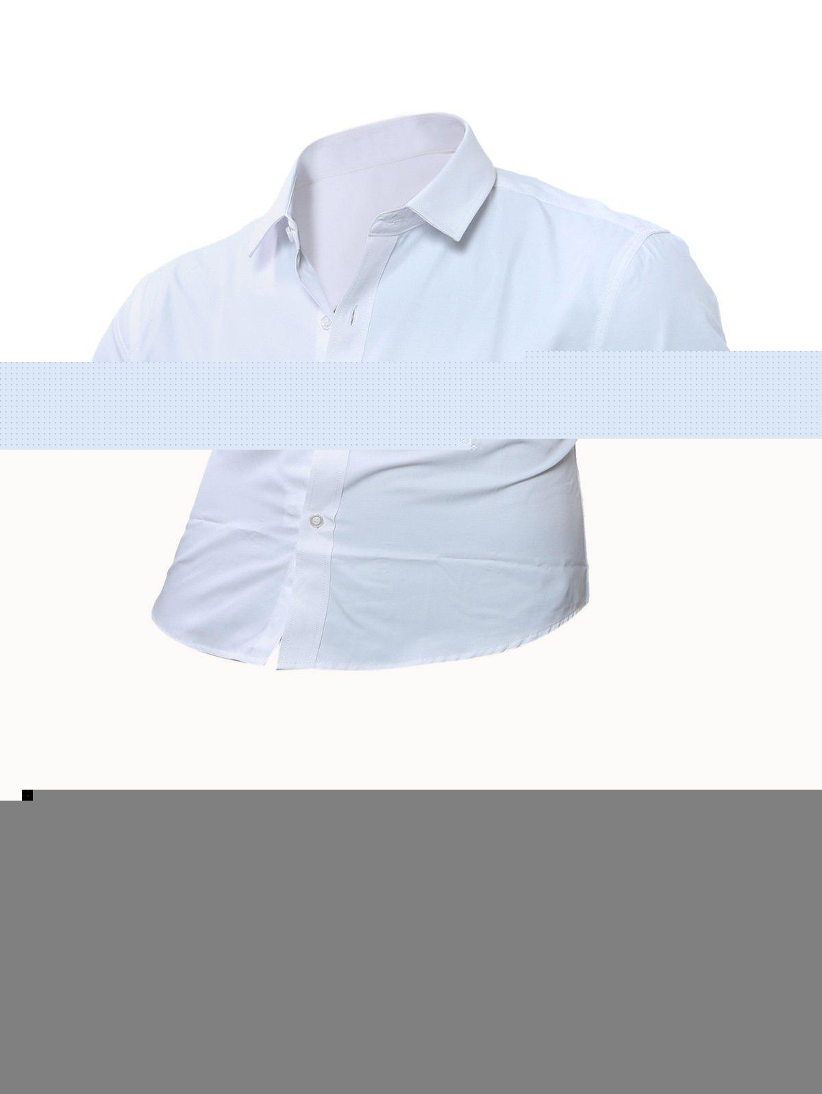 Chest Pocket Long Sleeve Plain Shirt - WHITE M