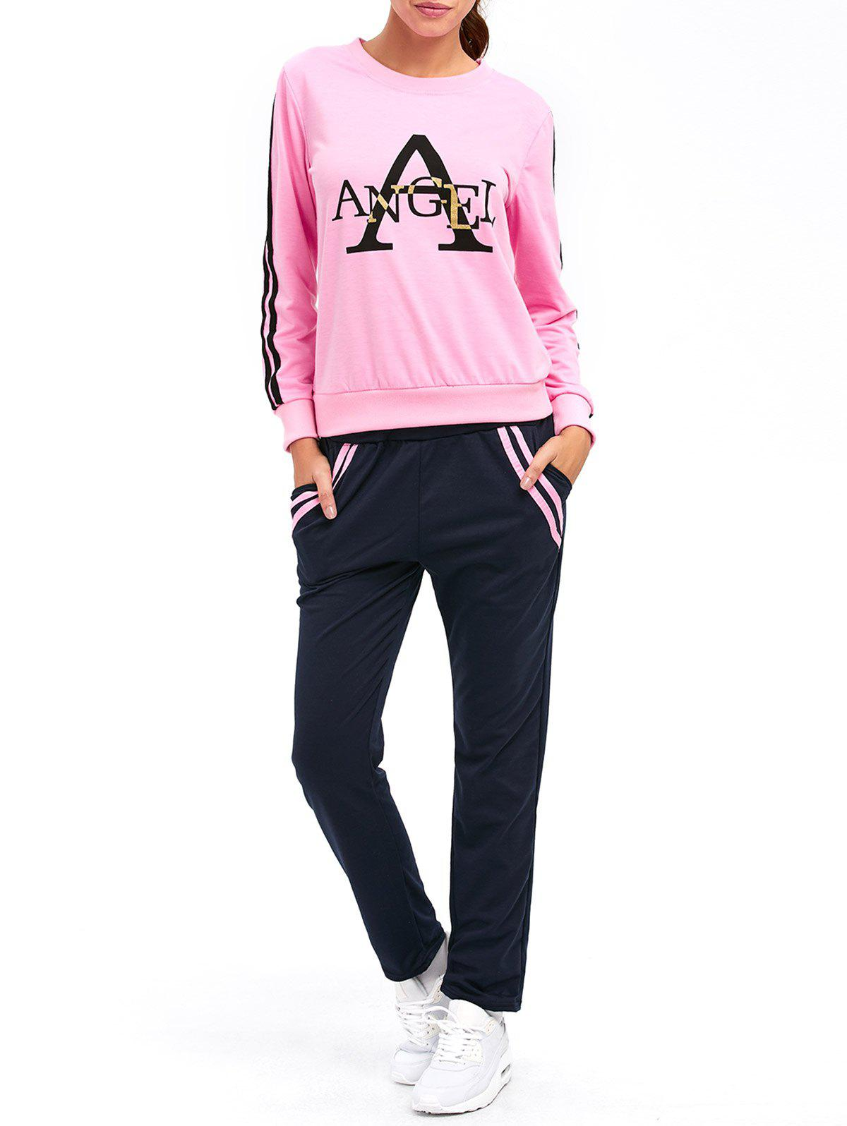 Striped A Graphic Pocket Design Sporty Suit - PINK XL