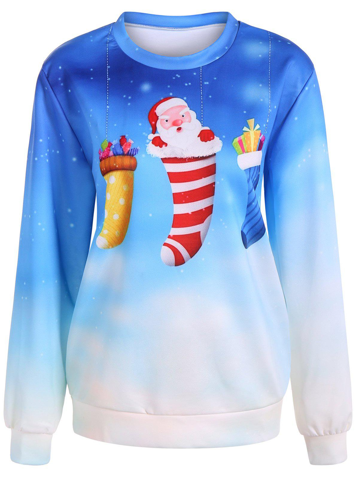 Ombre Color Socks Christmas Sweatshirt - AZURE ONE SIZE
