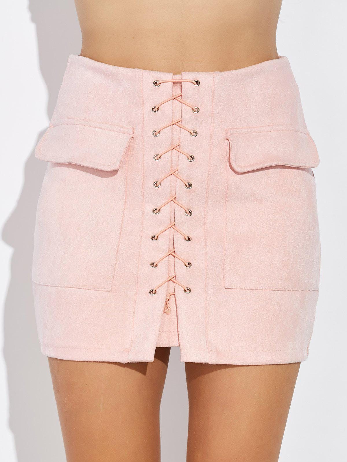 Criss Cross Faux Suede Mini Skirt - PINK XL