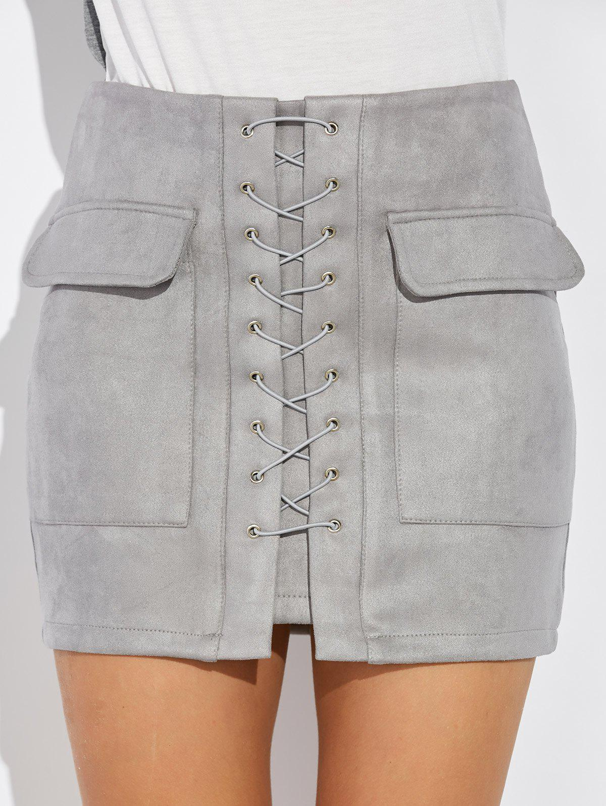 Criss Cross Faux Suede Mini Skirt - GRAY S