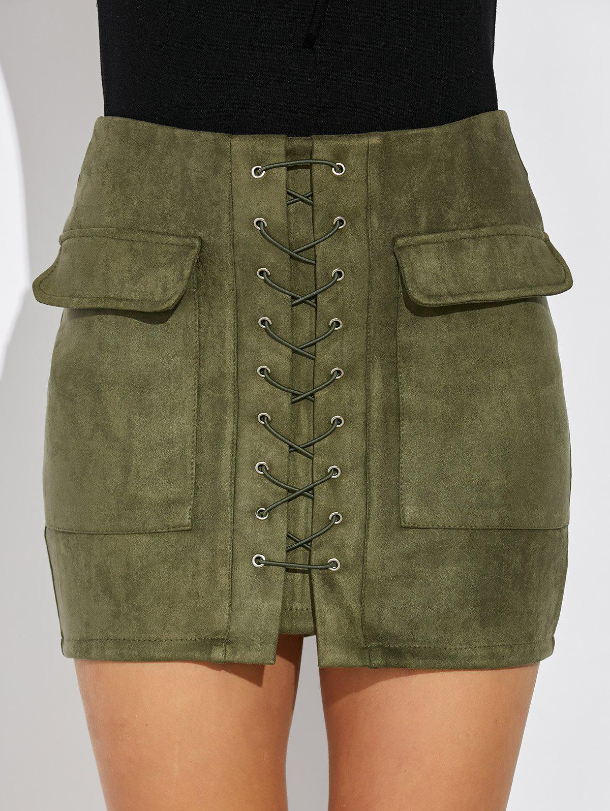 Criss Cross Faux Suede Mini Skirt - ARMY GREEN L