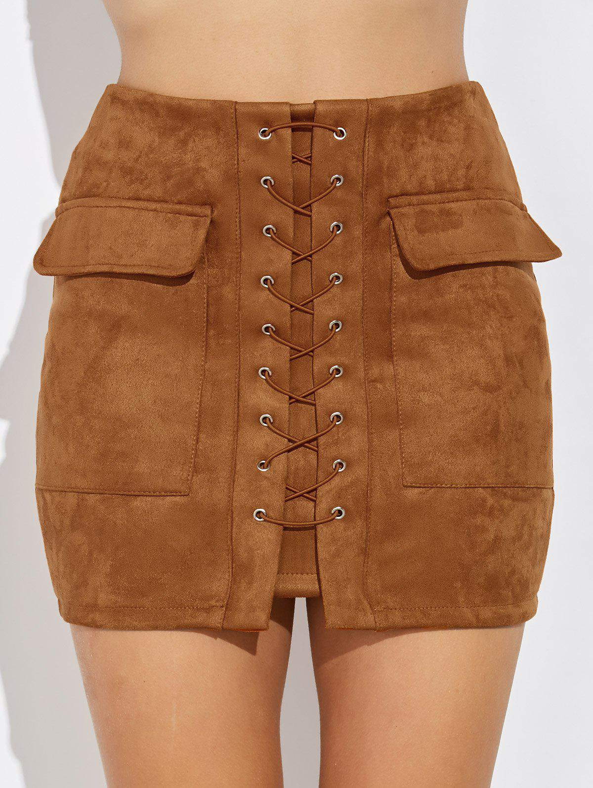 Criss Cross Faux Suede Mini Skirt - CAMEL S