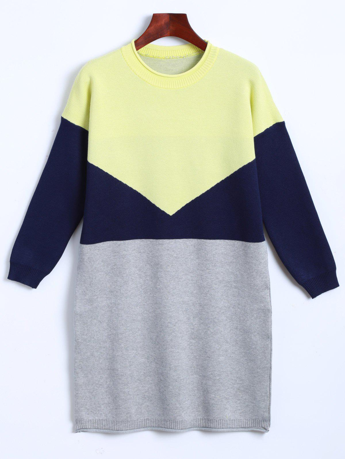 Tricoté Color Block Dress - Jaune ONE SIZE