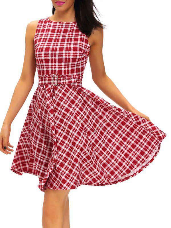 Vintage Round Neck Belted Tartan Dress от Dresslily.com INT