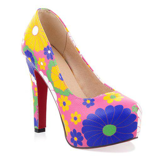 Floral Chunky Heel Pumps - PINK 37