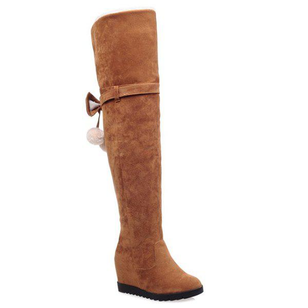 pompons wedge bow thigh boots brown in boots